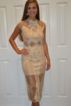 The Clothing Co Cream Lace Dress - Product List Image