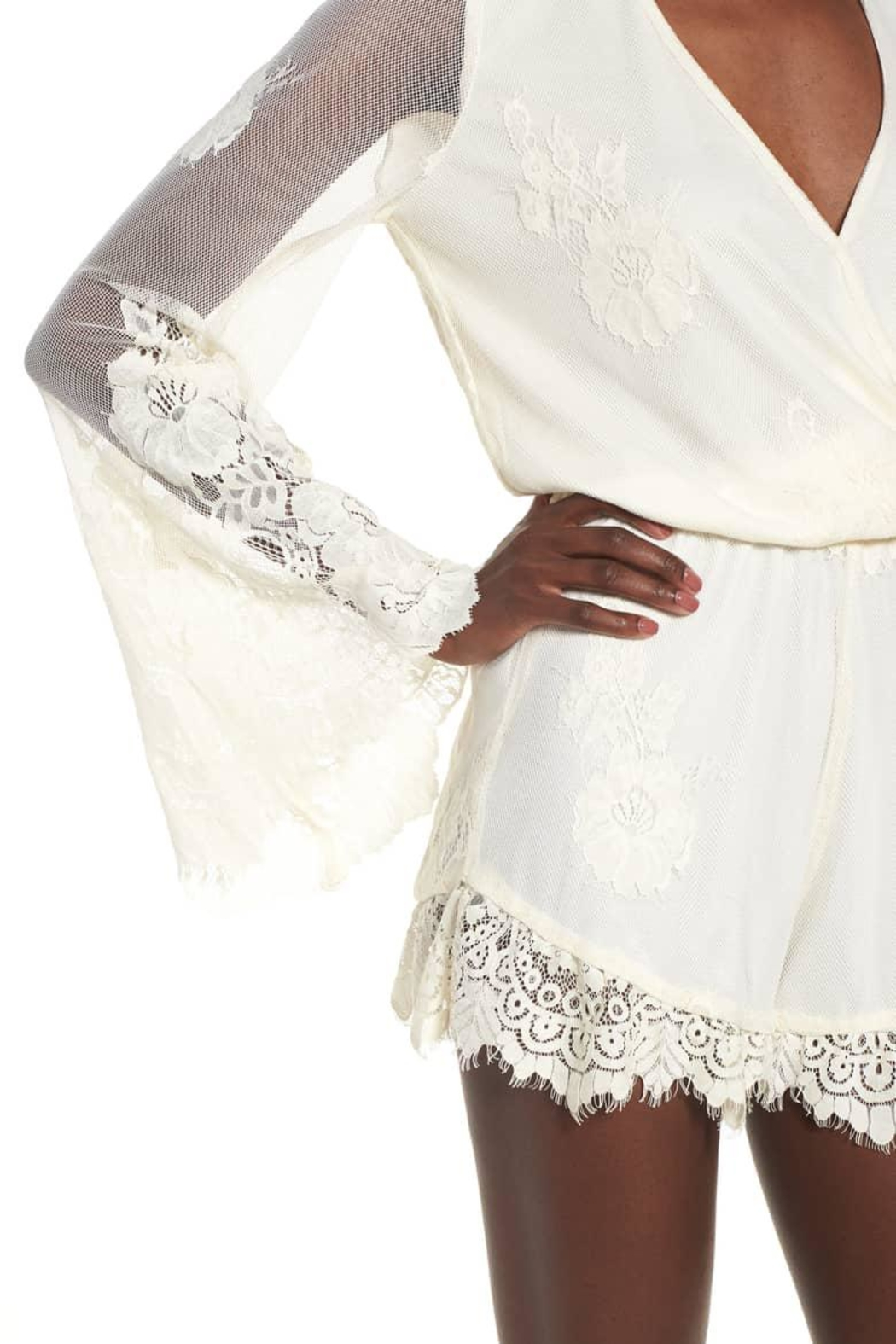 Show Me Your Mumu Cream Lace Romper - Back Cropped Image
