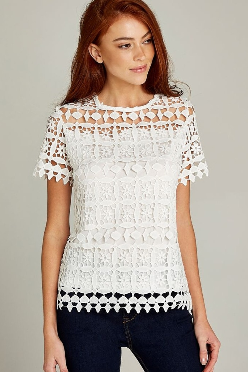 Apricot Cream Lace Short Sleeve Top - Main Image