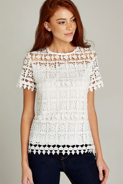Apricot Cream Lace Short Sleeve Top - Product List Image