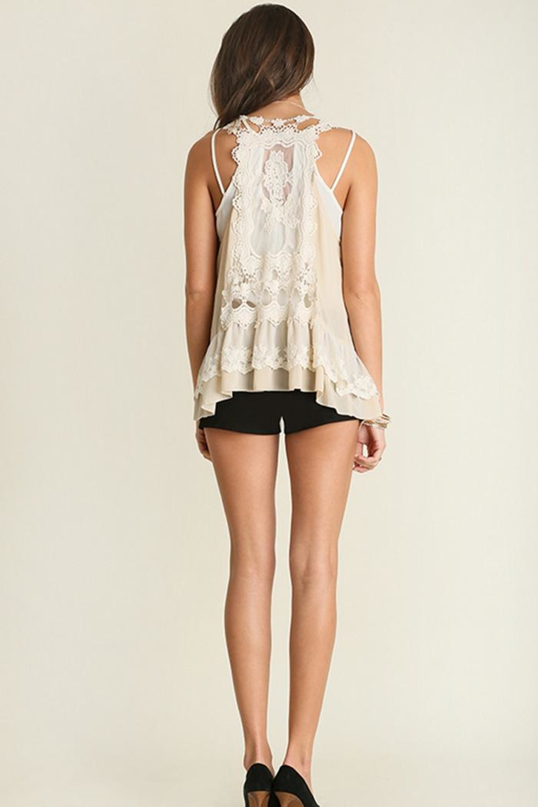 The Vintage Valet Cream Lace Vest - Front Full Image