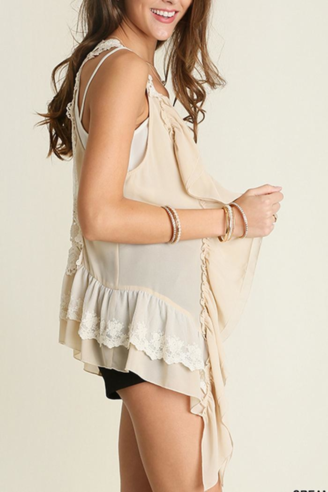 The Vintage Valet Cream Lace Vest - Main Image