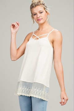 LLove Cream layering tunic with caged neckline - Product List Image