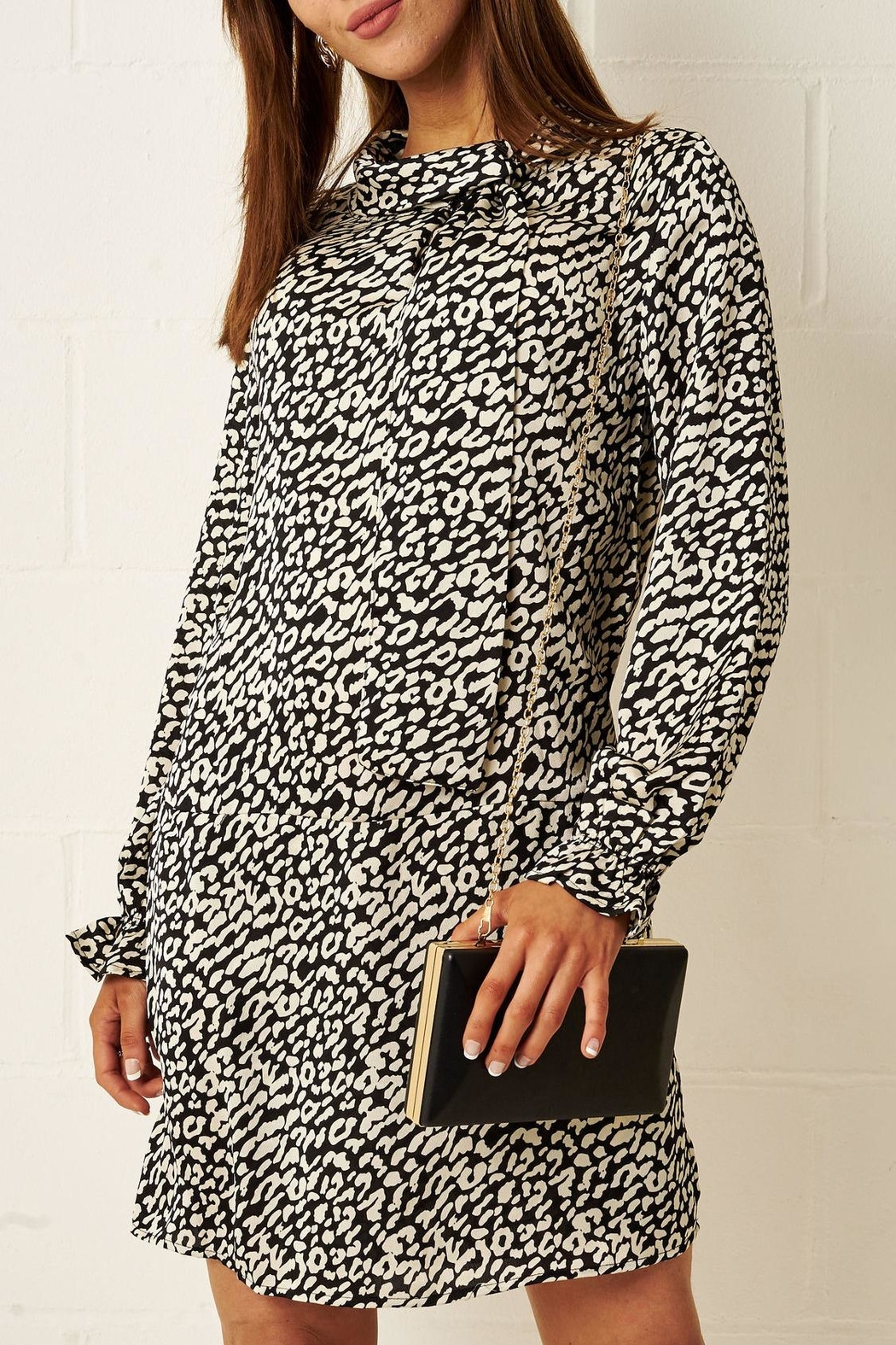 frontrow Cream Leopard-Print Dress - Main Image