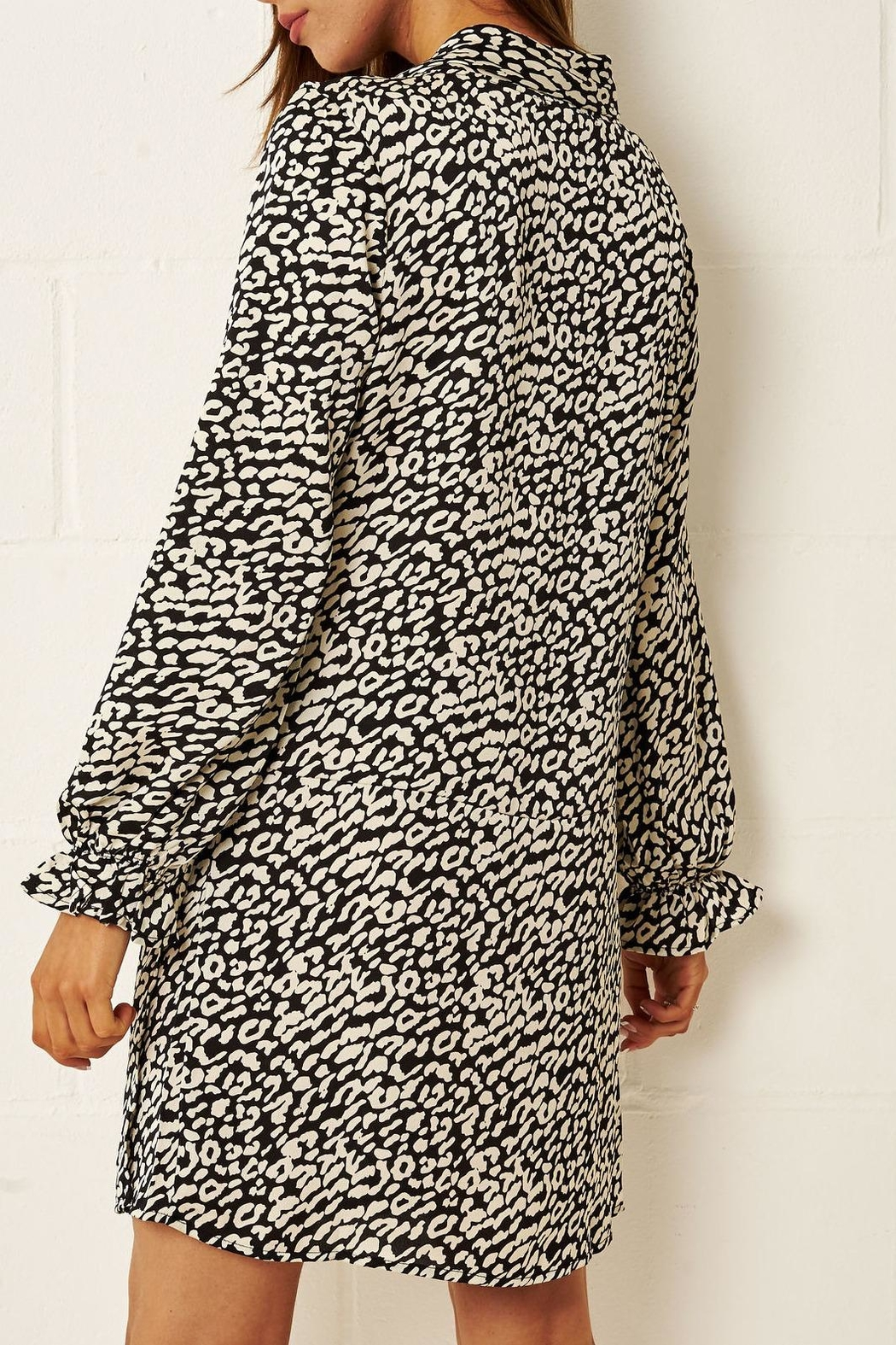 frontrow Cream Leopard-Print Dress - Front Full Image