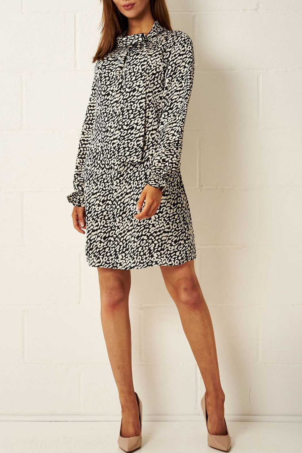 frontrow Cream Leopard-Print Dress - Side Cropped Image