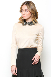 Esley Cream Lightweight Sweater with Black Embroidered Collar - Product Mini Image