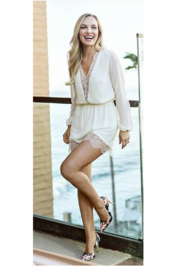 Hommage Cream Long sleeve Lace Romper - Product Mini Image