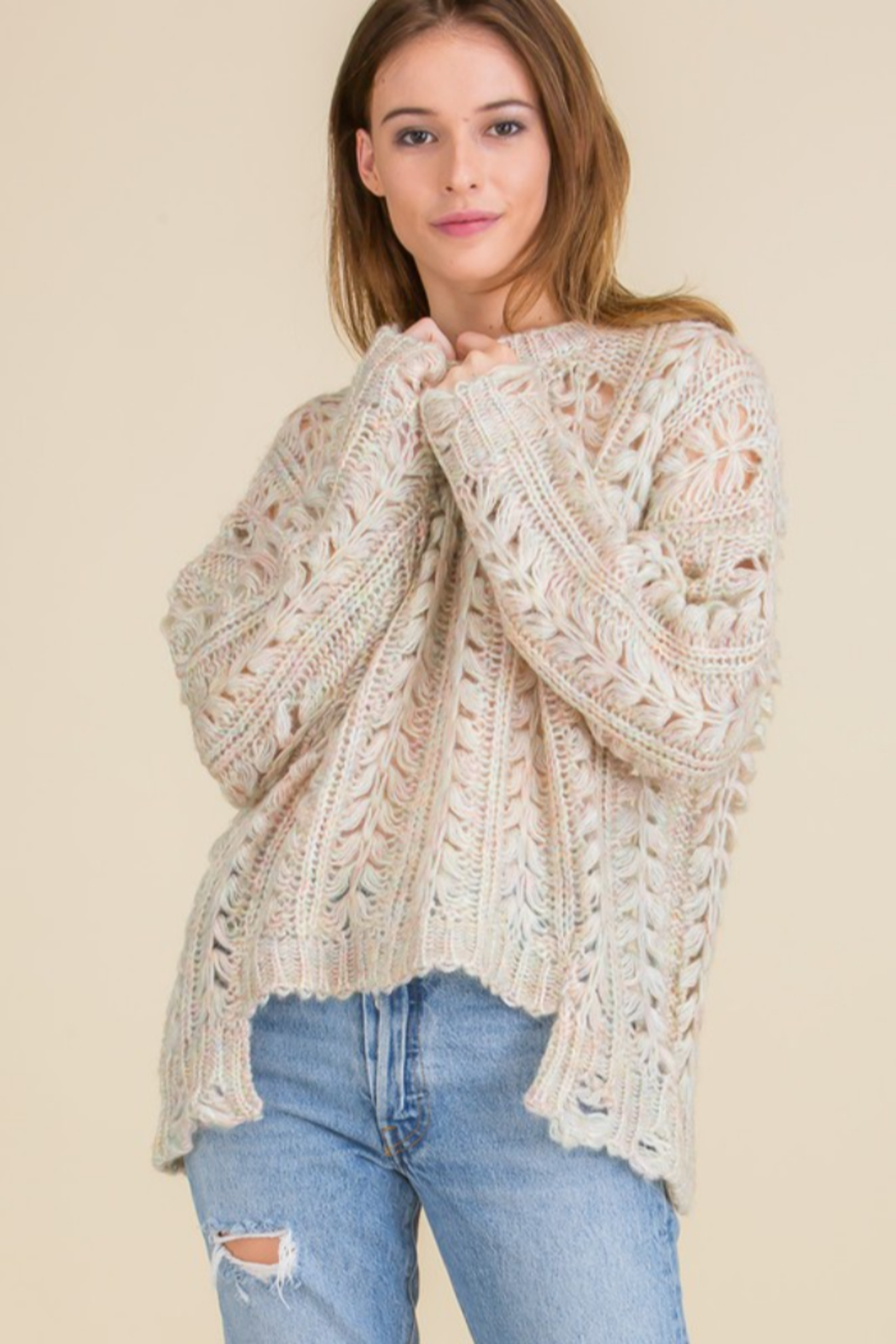 Mojito Mango Cream/Multi-color Cozy Holes Sweater - Front Full Image