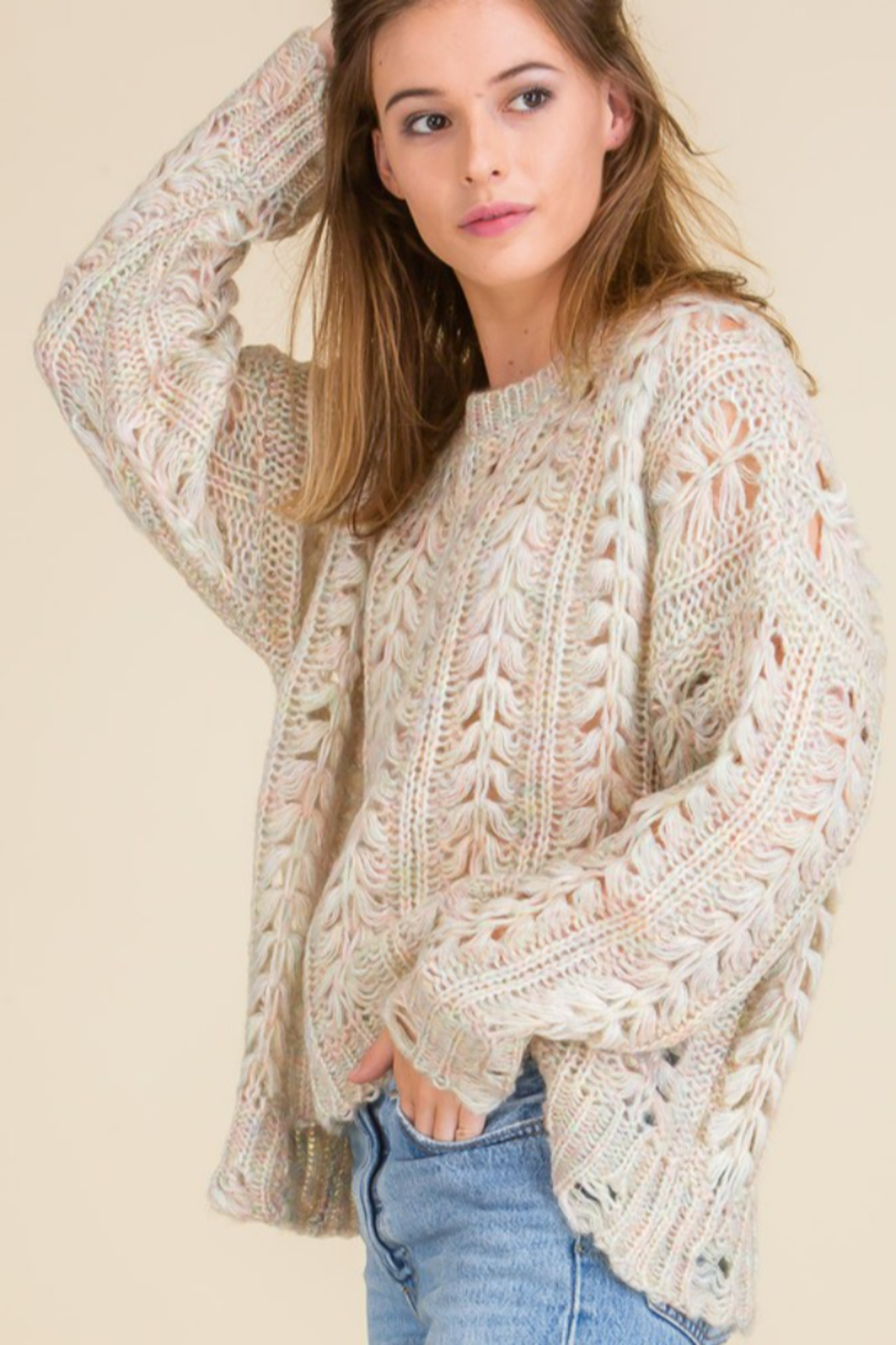 Mojito Mango Cream/Multi-color Cozy Holes Sweater - Main Image