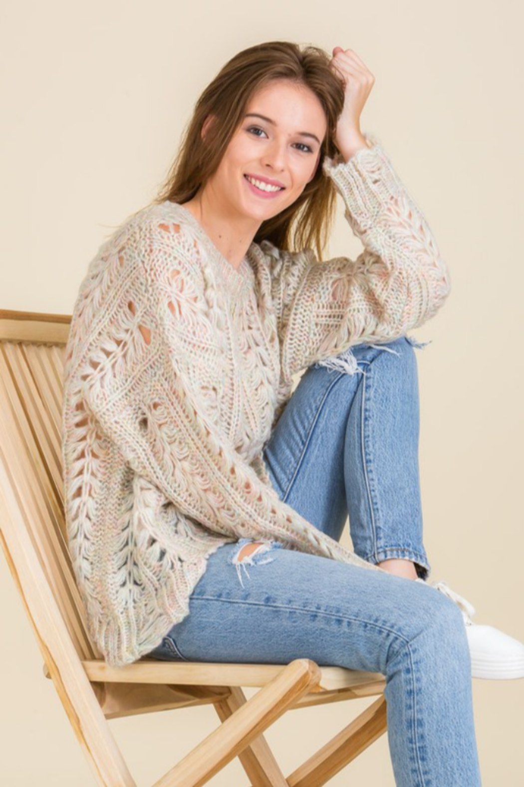 Mojito Mango Cream/Multi-color Cozy Holes Sweater - Side Cropped Image