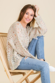 Mojito Mango Cream/Multi-color Cozy Holes Sweater - Side cropped