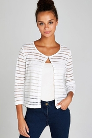 Apricot Cream Open Mesh Shrug - Front cropped