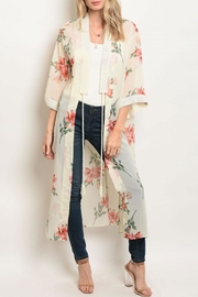 essue Cream/peach Floral Kimono - Product Mini Image