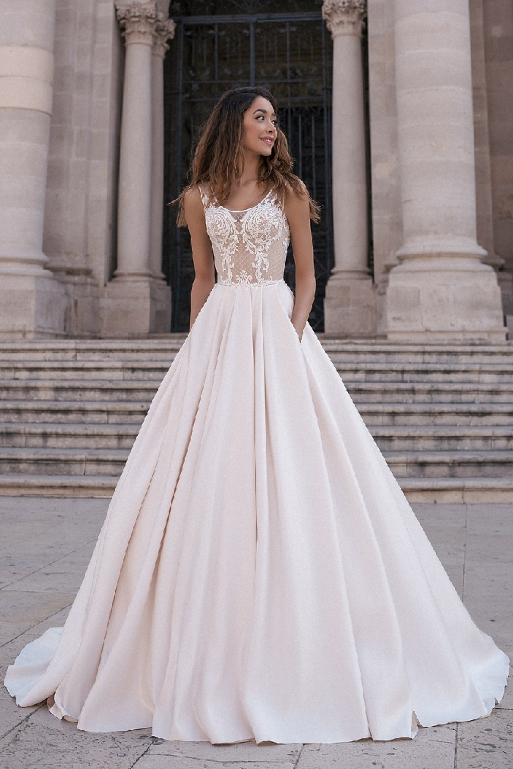 Rima Lav Cream Peach Satin & Lace Bridal Ballgown - Main Image
