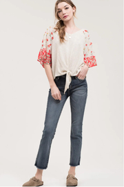 blu Pepper  Cream Red Floral Top - Product Mini Image