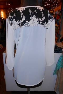 Wish Collection Cream Sheer Blouse With Black Lace - Alternate List Image