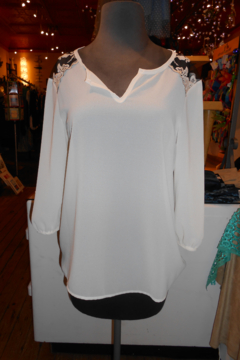 Wish Collection Cream Sheer Blouse With Black Lace - Product List Image