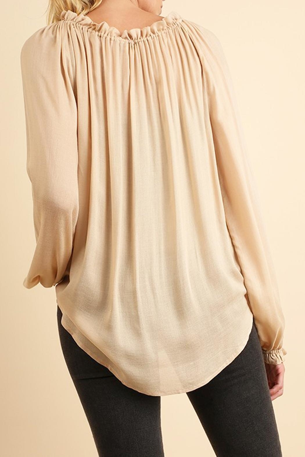 Umgee USA Cream Silky-Feel Blouse - Front Full Image