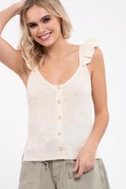 blu pepper  Cream Sleeveless Button Up Knit Top - Product Mini Image