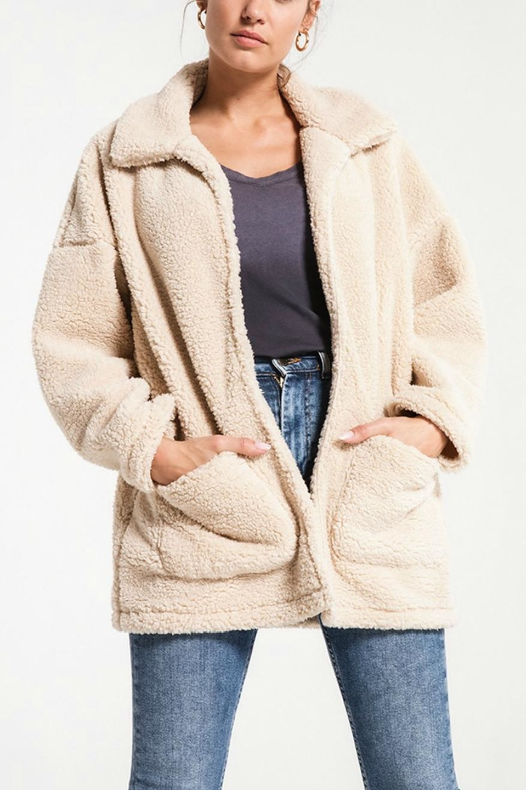 Zsupply Cream Teddybear Coat - Front Cropped Image