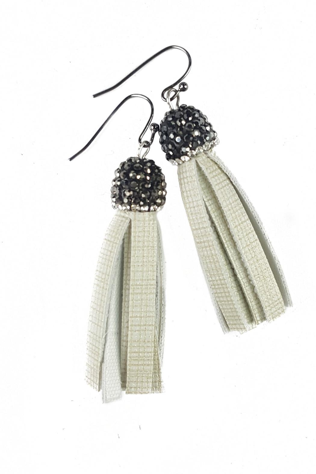 Fabulina Designs Cream Tisla Earrings - Front Cropped Image