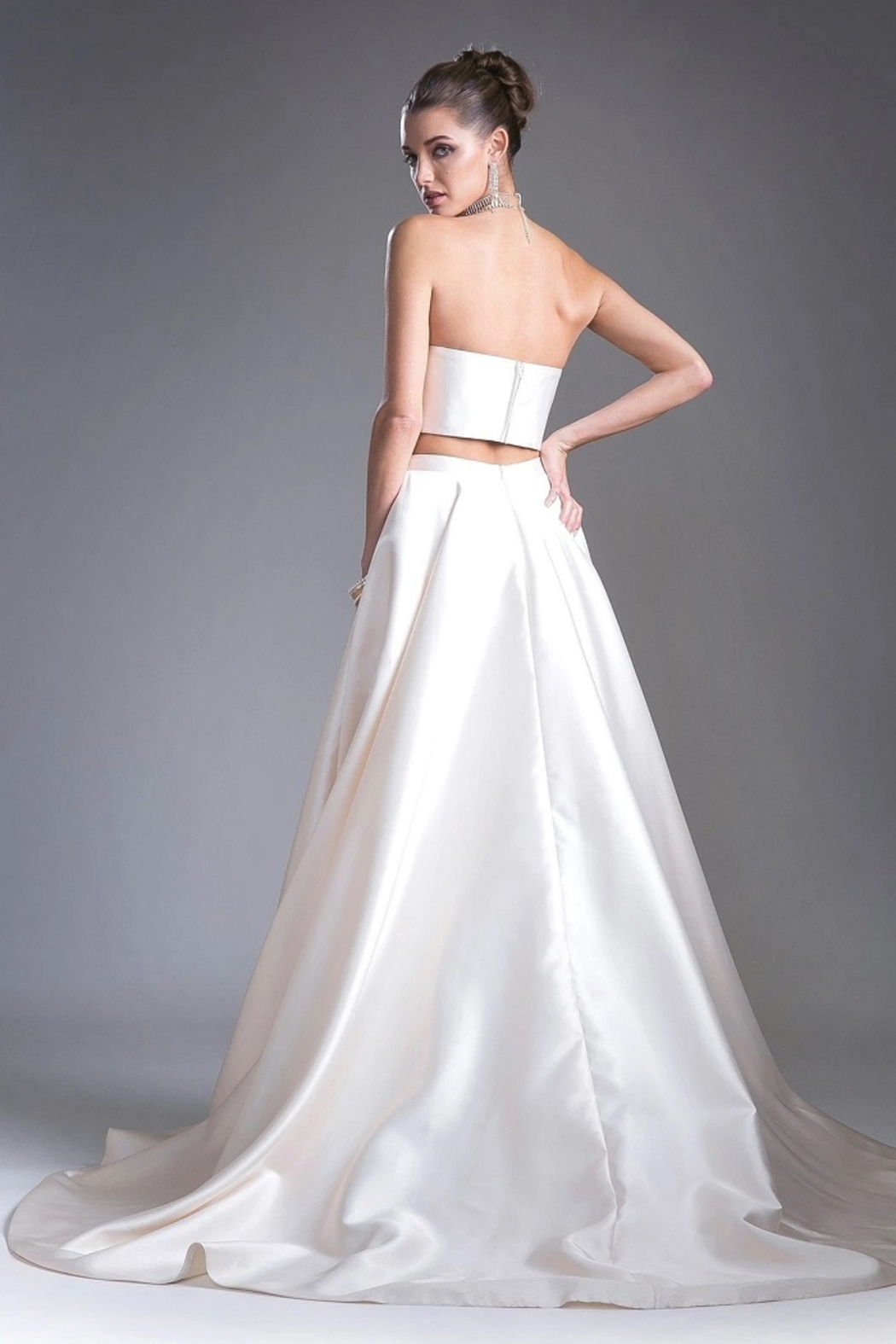 Cinderella Divine Cream Two Piece Bridal Gown - Front Full Image