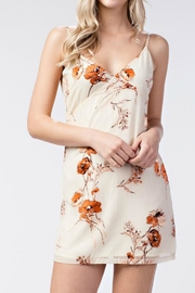 honey belle Cream Velvet Dress - Front cropped