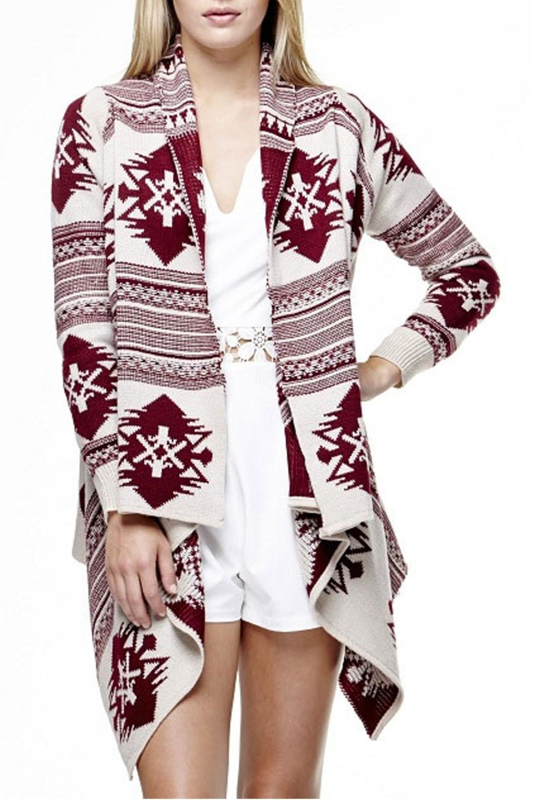 Tea & Cup Tribal Cardigan Sweater - Front Cropped Image