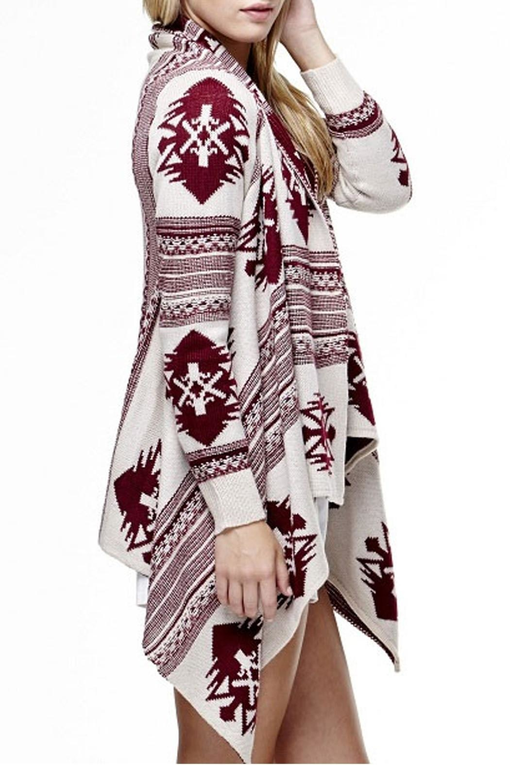 Tea & Cup Tribal Cardigan Sweater - Side Cropped Image