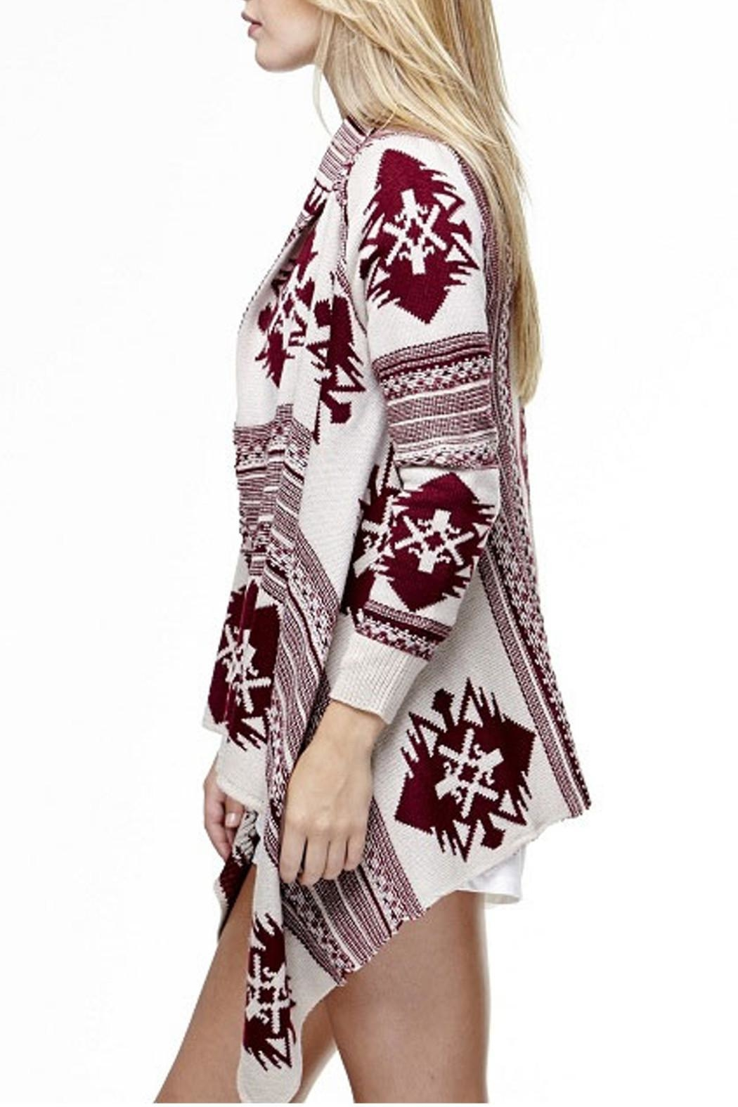 Tea & Cup Tribal Cardigan Sweater - Back Cropped Image