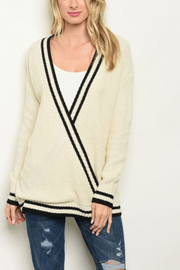 Lyn -Maree's Cream Wrap Sweater - Front cropped