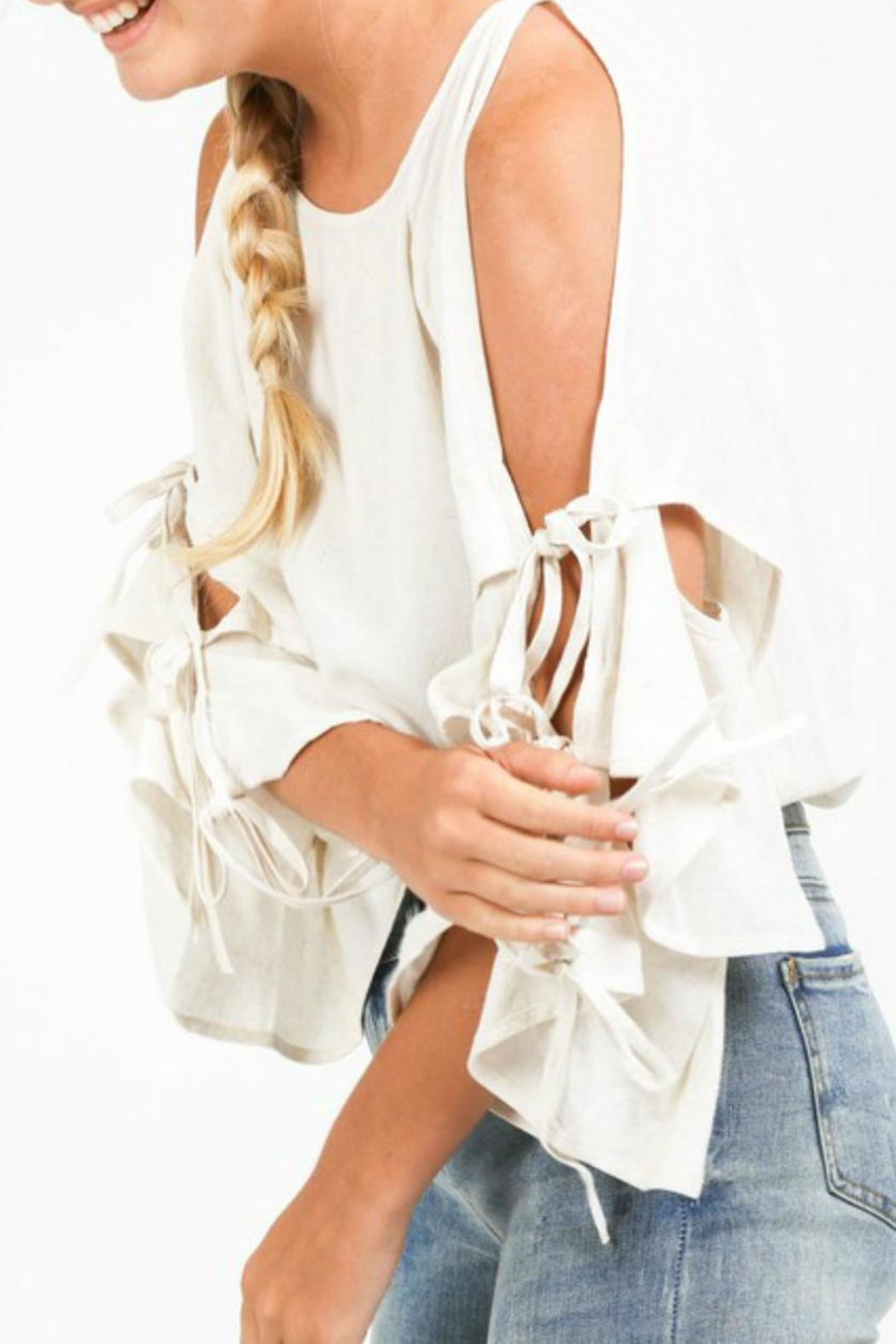 LoveRiche Creamy Cold-Shoulder Layer-Sleeve - Front Cropped Image