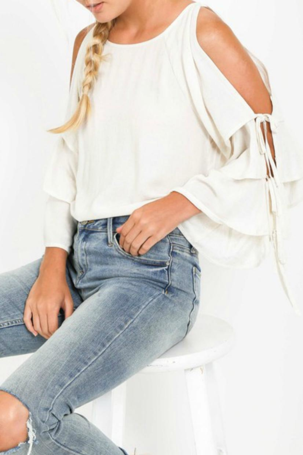 LoveRiche Creamy Cold-Shoulder Layer-Sleeve - Main Image