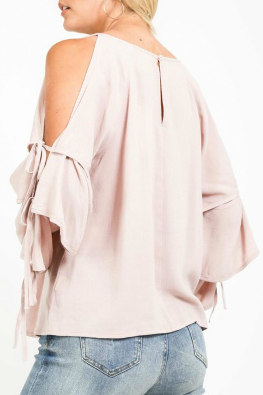 LoveRiche Creamy Cold-Shoulder Layer-Sleeve - Back Cropped Image