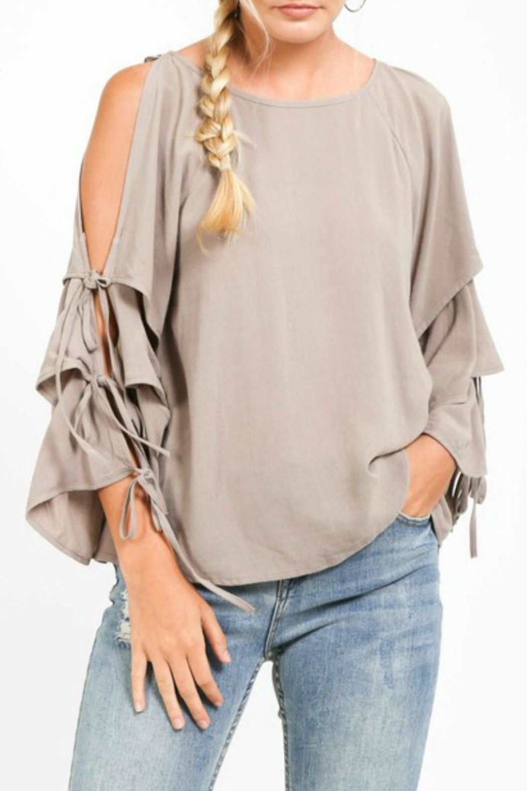 LoveRiche Creamy Cold-Shoulder Layer-Sleeve - Side Cropped Image