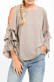 LoveRiche Creamy Cold-Shoulder Layer-Sleeve - Side cropped