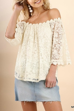 Umgee USA Creamy Lace Off-The-Shoulder - Product List Image