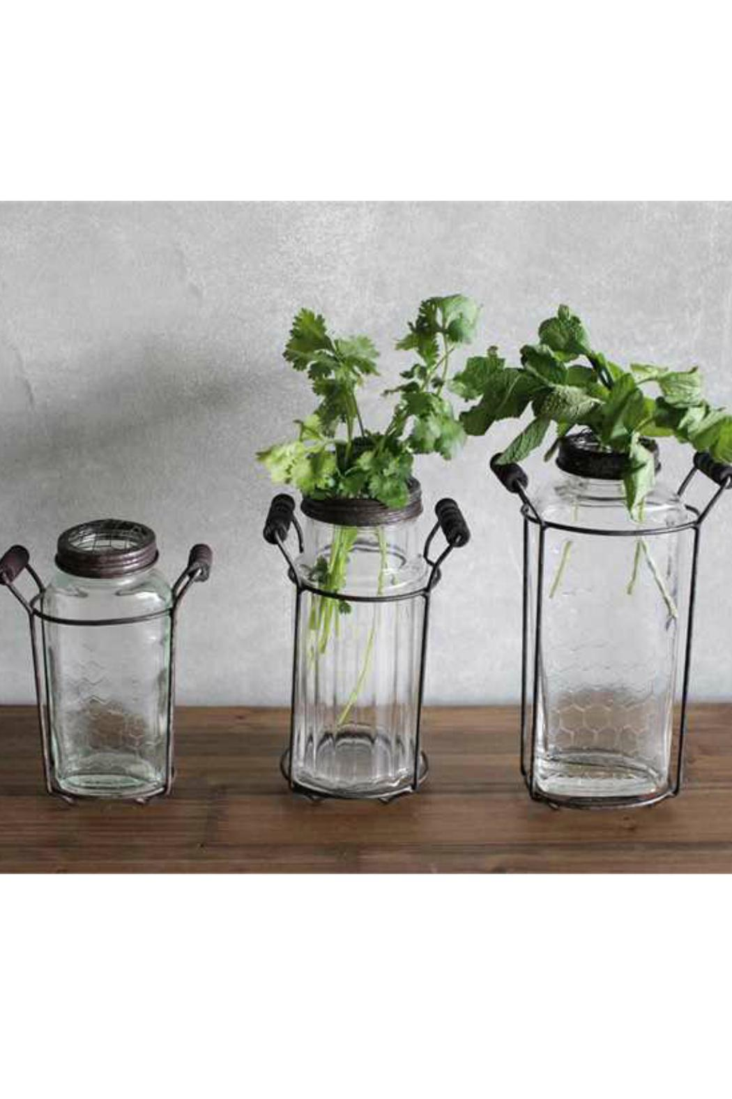 Creative Co-Op Glass Vase with Metal Flower Lid Small
