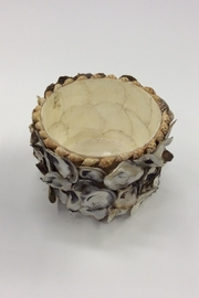 Creative Co-Op Large Capiz Oyster Container - Front full body