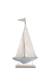 Creative Co-Op Cement/canvas Sailboat - Product Mini Image
