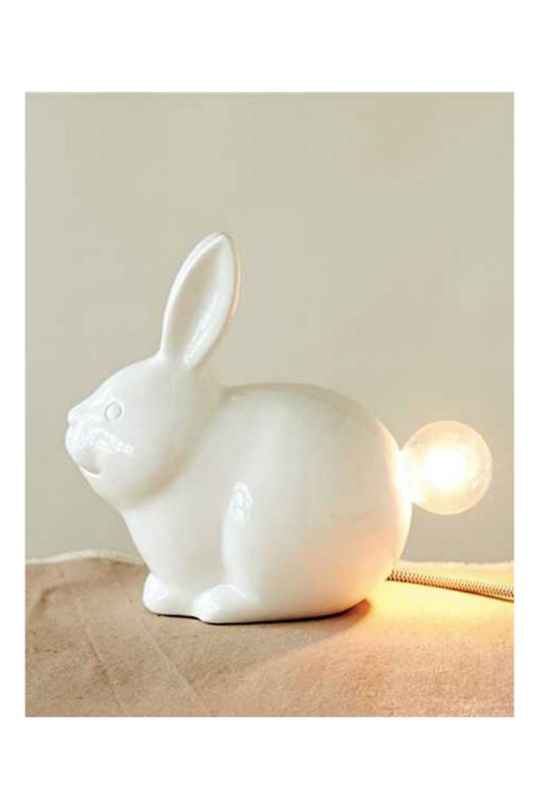 Creative Co-Op Ceramic Bunny Lamp - Main Image