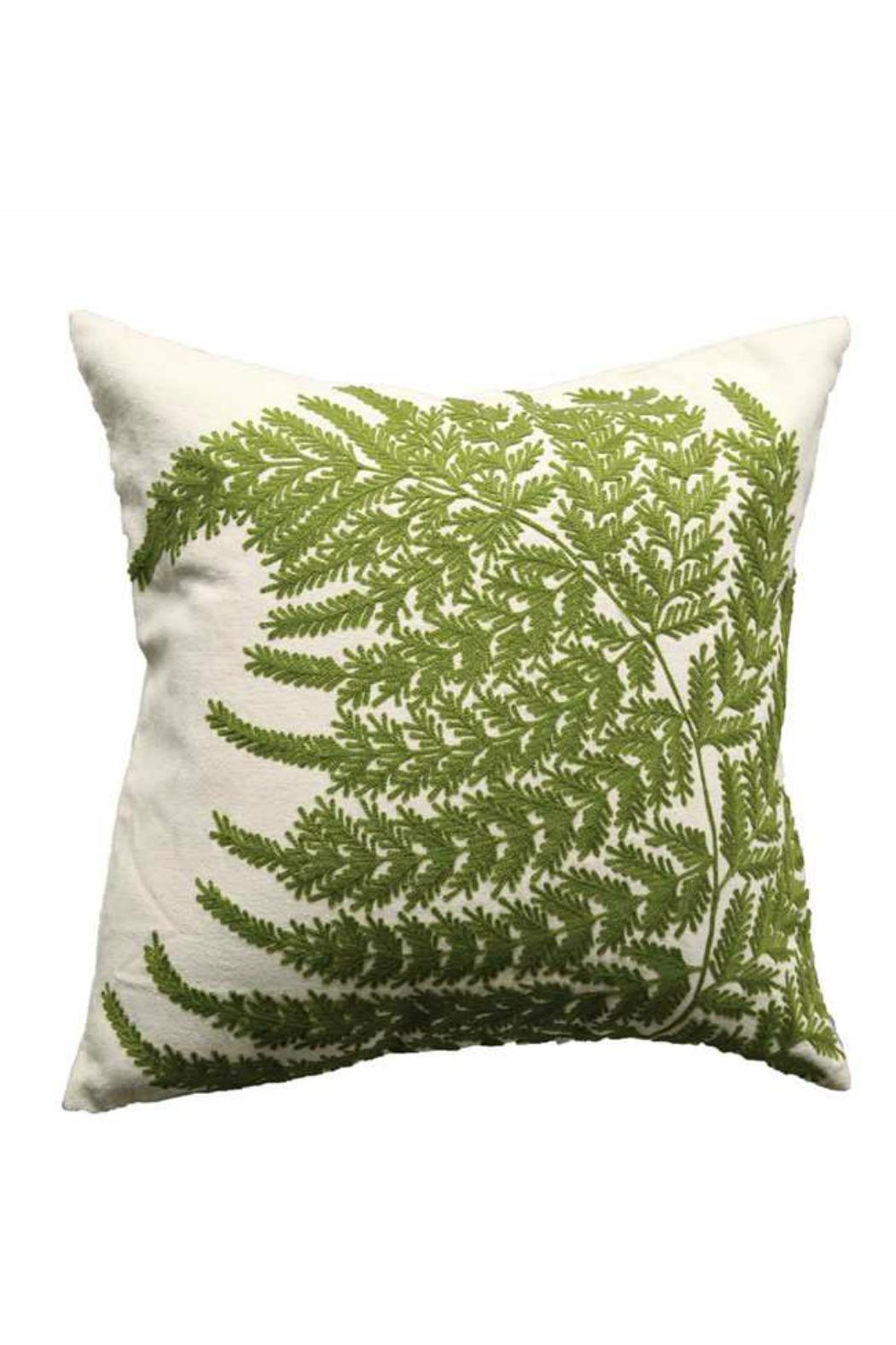 Creative Co Op Embroidered Fern Pillow   Front Cropped Image