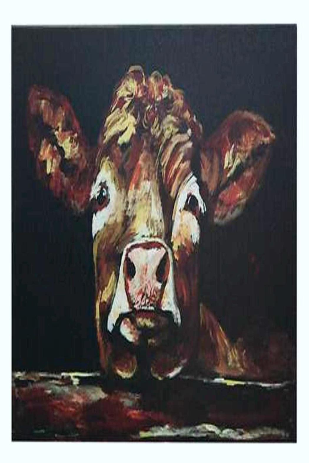 Creative Co-Op Leaning Cow Canvas - Main Image
