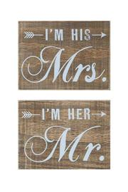 Creative Co-Op Mr.&Mrs. Wood Block - Product Mini Image