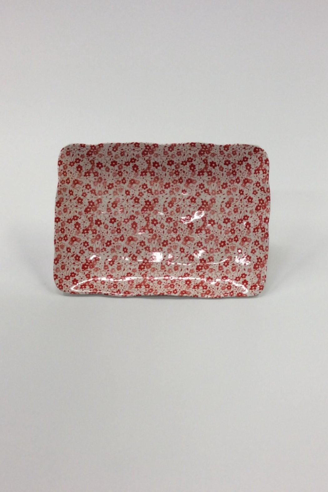 Creative Co-Op Floral Stoneware Rectangle Tray - Main Image