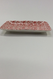 Creative Co-Op Floral Stoneware Rectangle Tray - Front full body