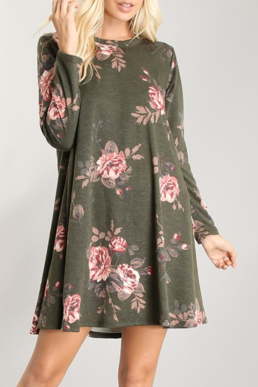 Crepas Olive Floral Tunic - Main Image