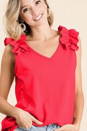 Bibi Crepe Knit V Neck Top with Ruffle - Product Mini Image