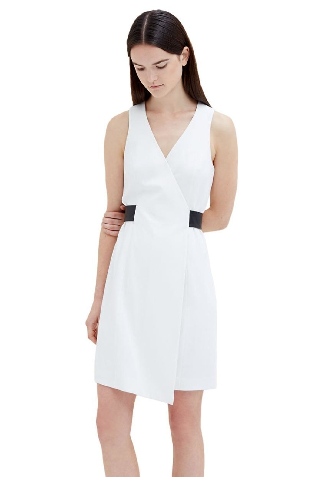 4.Collective Crepe Sleeveless Wrap-Dress - Side Cropped Image